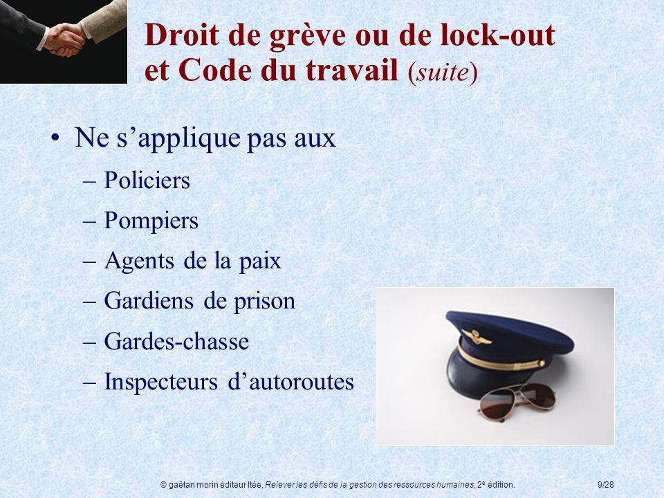 Droit de grève ou de lock-out et Code du travail (suite)