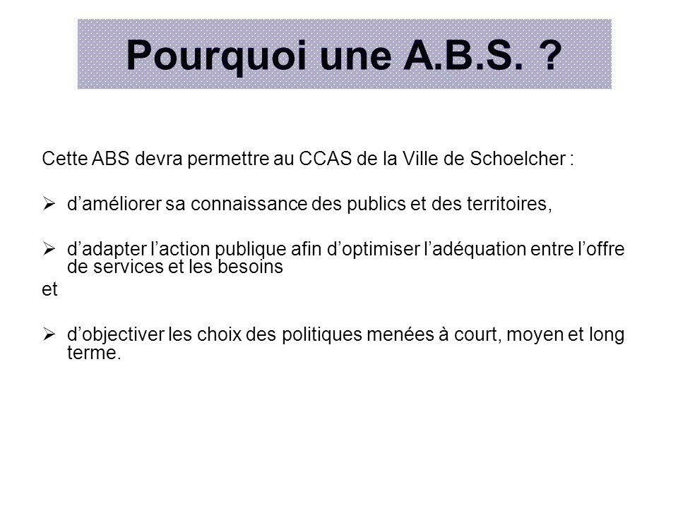 Pourquoi une A.B.S. Cette ABS devra permettre au CCAS de la Ville de Schoelcher : d'améliorer sa connaissance des publics et des territoires,