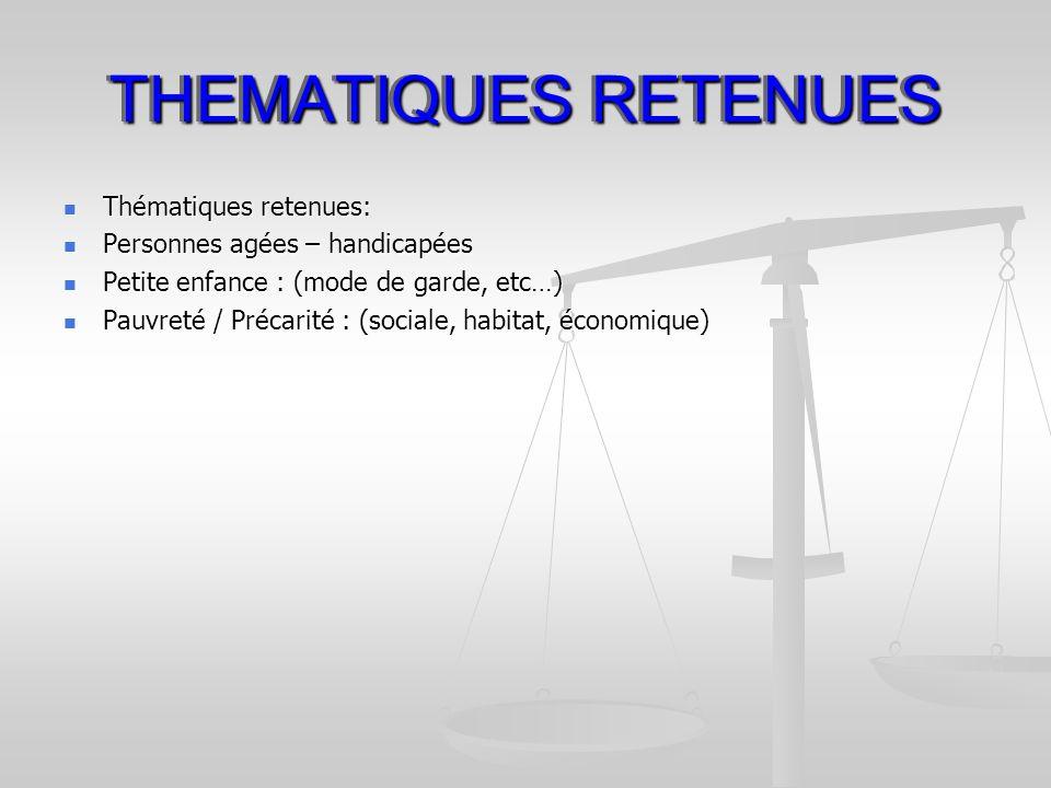 THEMATIQUES RETENUES Thématiques retenues: