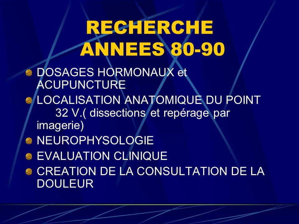RECHERCHE ANNEES 80-90 DOSAGES HORMONAUX et ACUPUNCTURE