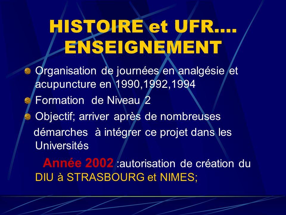 HISTOIRE et UFR…. ENSEIGNEMENT