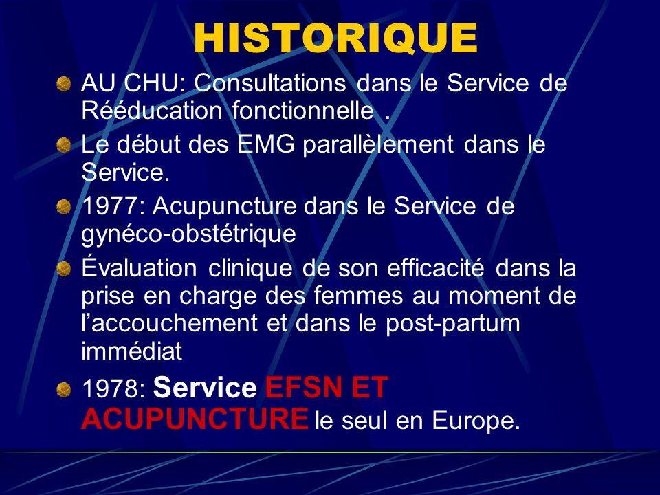 HISTORIQUE AU CHU: Consultations dans le Service de Rééducation fonctionnelle . Le début des EMG parallèlement dans le Service.