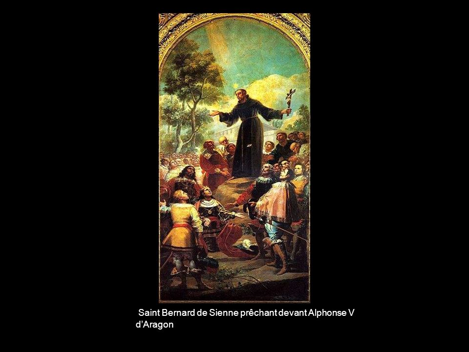 Saint Bernard de Sienne prêchant devant Alphonse V d'Aragon