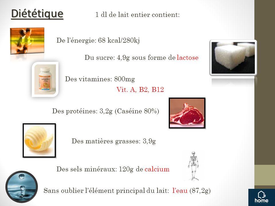 Diététique 1 dl de lait entier contient: De l'énergie: 68 kcal/280kj