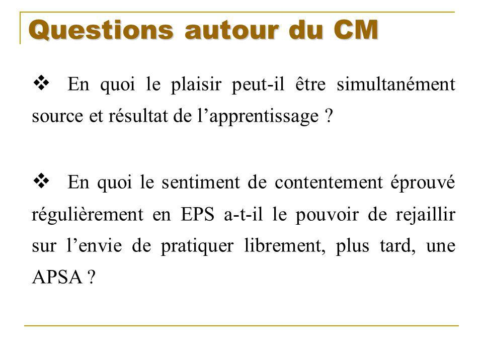 Questions autour du CM En quoi le plaisir peut-il être simultanément source et résultat de l'apprentissage