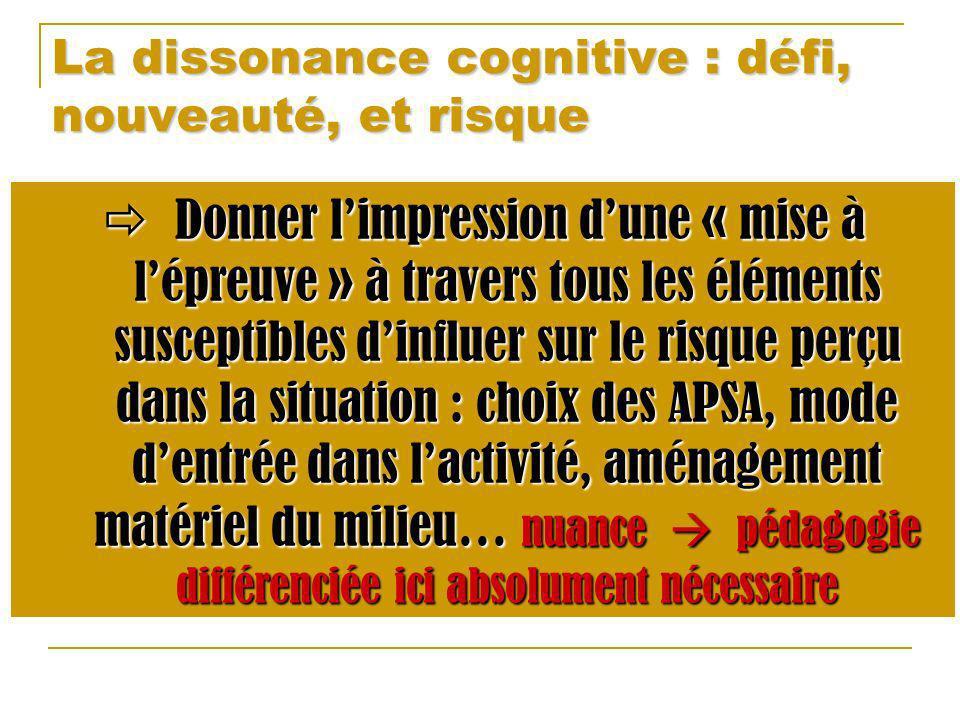La dissonance cognitive : défi, nouveauté, et risque