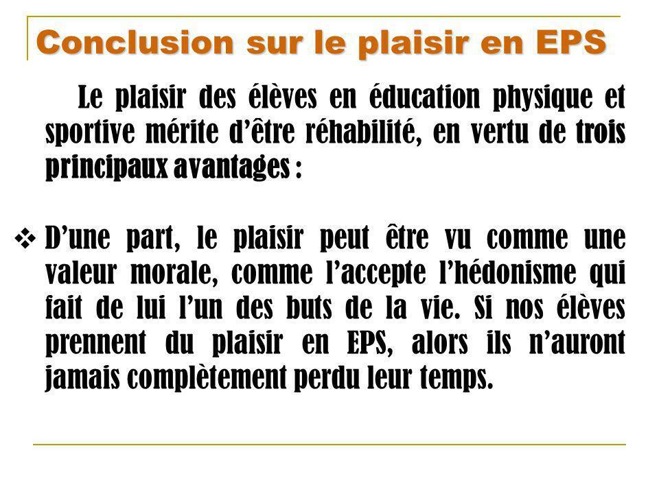 Conclusion sur le plaisir en EPS