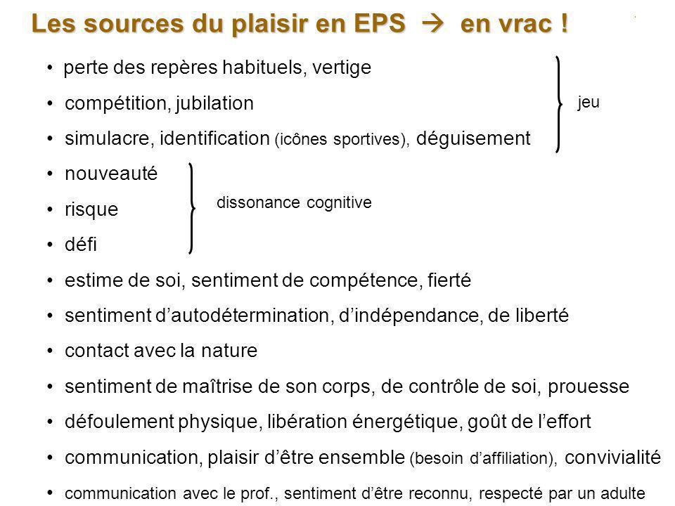 Les sources du plaisir en EPS  en vrac !