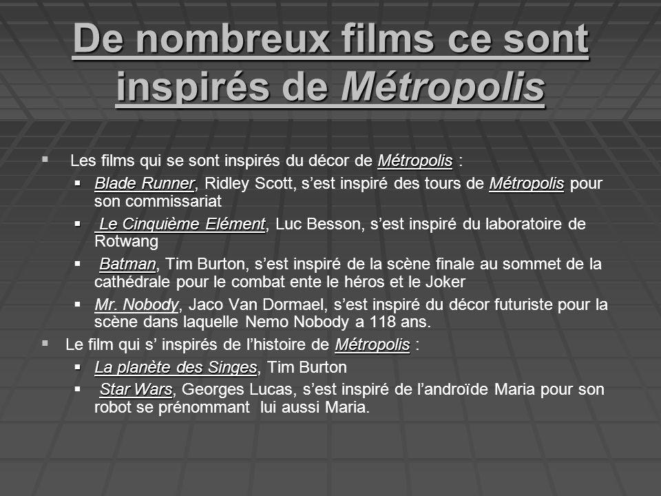 De nombreux films ce sont inspirés de Métropolis