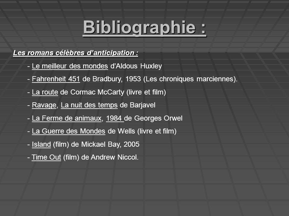 Bibliographie : Les romans célèbres d'anticipation :