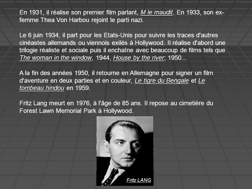 En 1931, il réalise son premier film parlant, M le maudit
