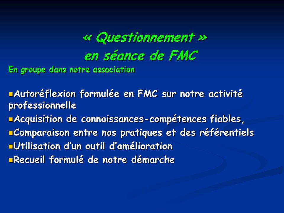 « Questionnement » en séance de FMC