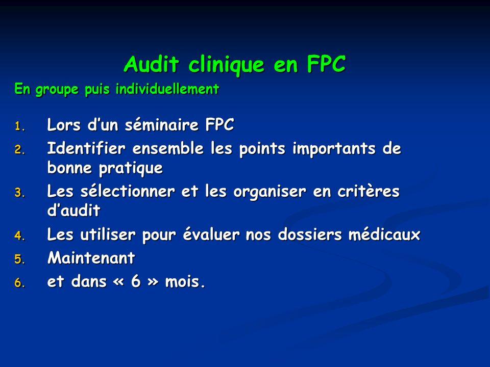 Audit clinique en FPC Lors d'un séminaire FPC