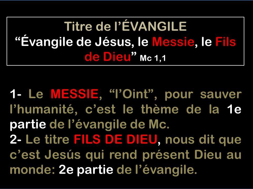 Titre de l'ÉVANGILE Évangile de Jésus, le Messie, le Fils de Dieu Mc 1,1