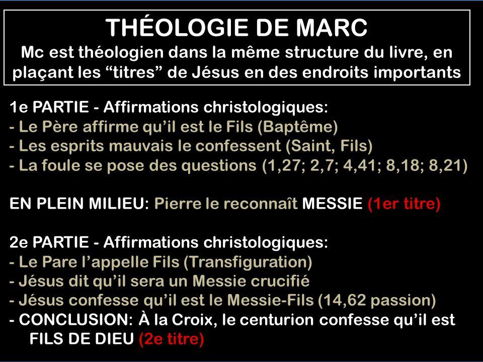 THÉOLOGIE DE MARC Mc est théologien dans la même structure du livre, en plaçant les titres de Jésus en des endroits importants