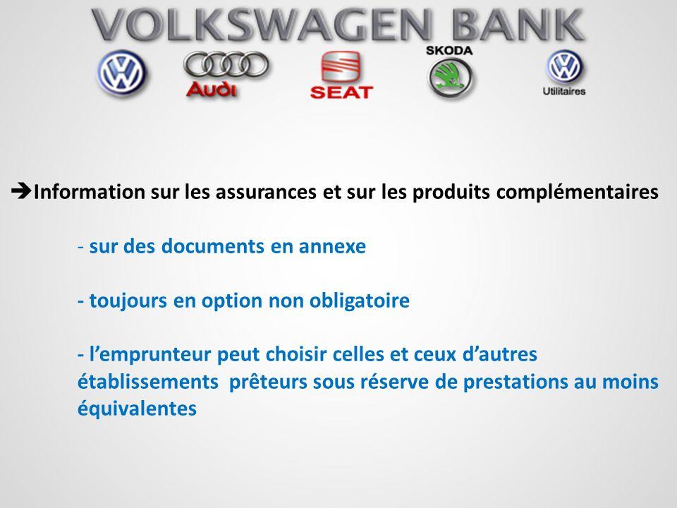 Information sur les assurances et sur les produits complémentaires