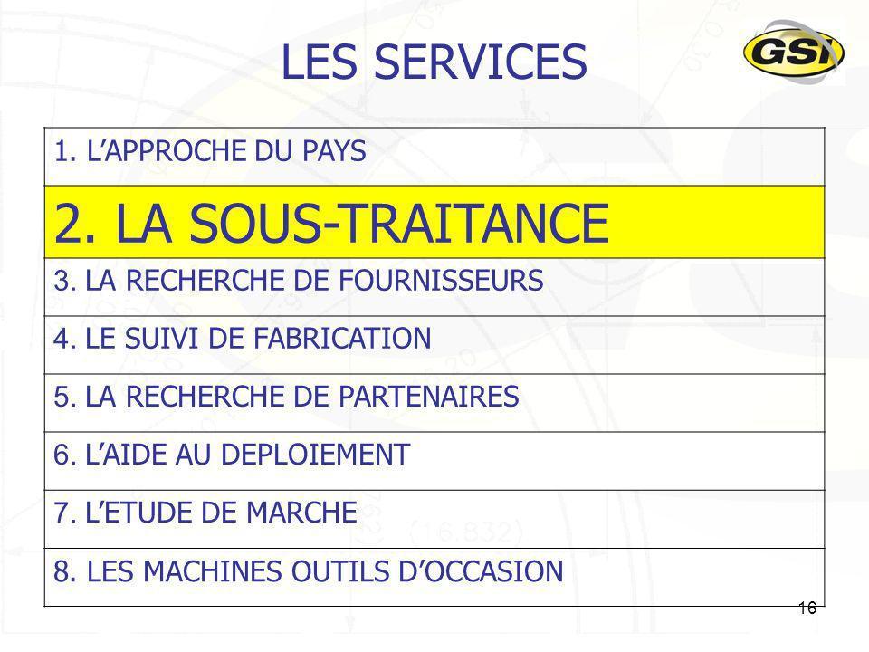 2. LA SOUS-TRAITANCE LES SERVICES 1. L'APPROCHE DU PAYS