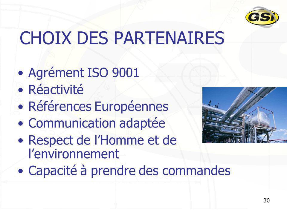 CHOIX DES PARTENAIRES Agrément ISO 9001 Réactivité