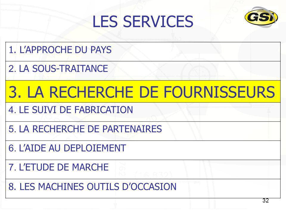 3. LA RECHERCHE DE FOURNISSEURS