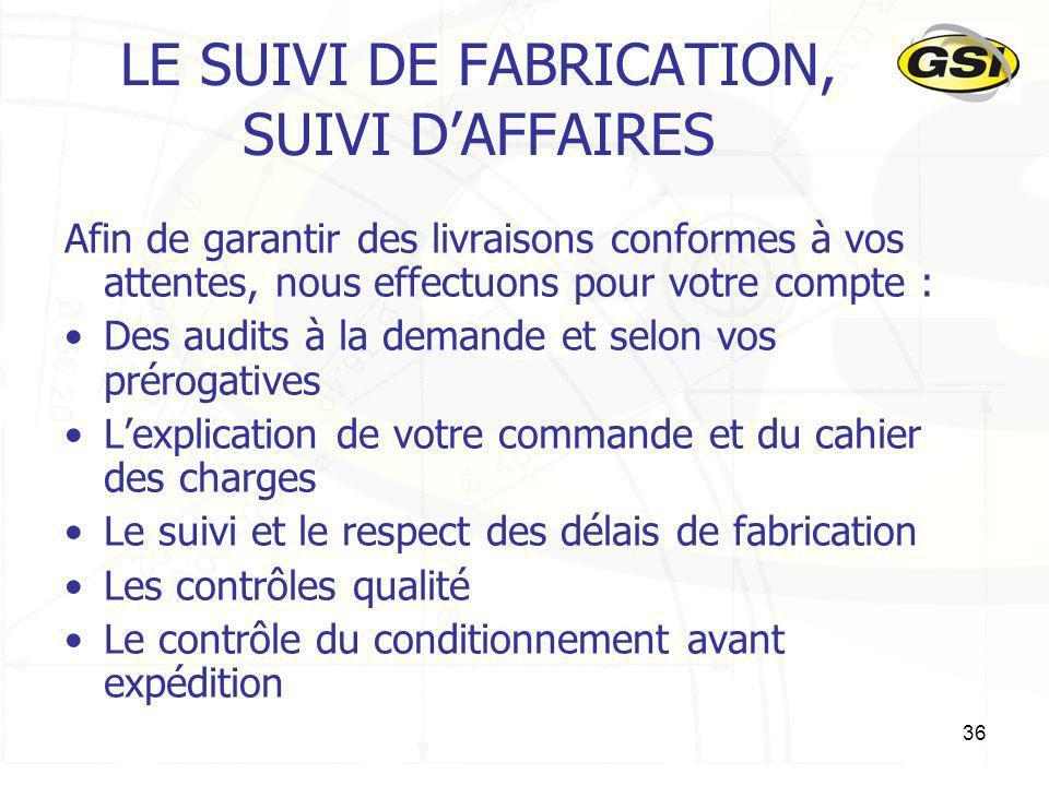 LE SUIVI DE FABRICATION, SUIVI D'AFFAIRES