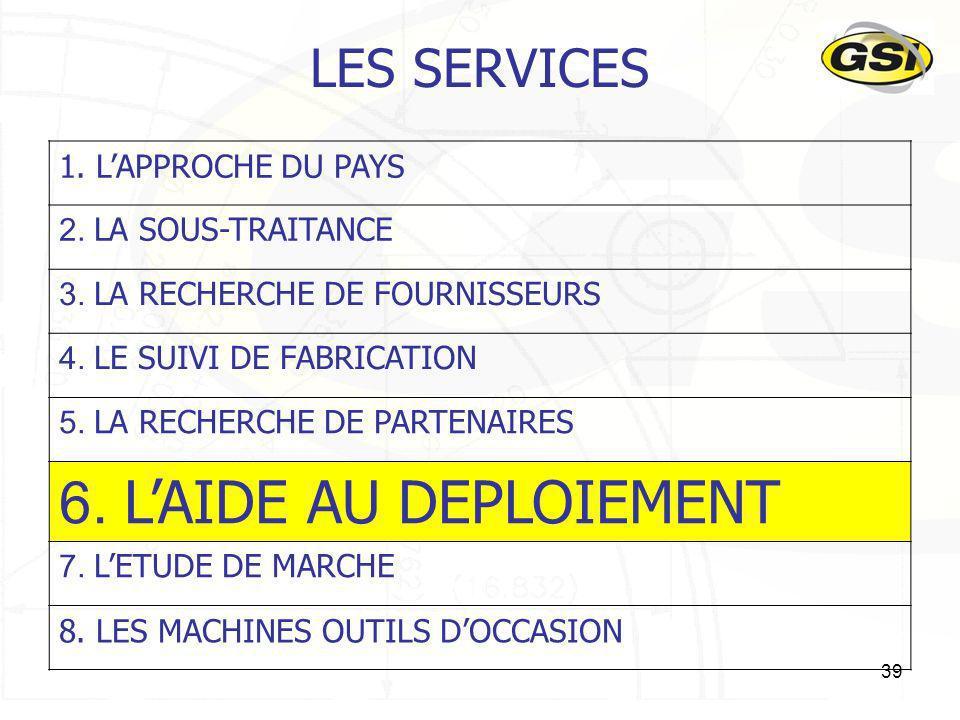 6. L'AIDE AU DEPLOIEMENT LES SERVICES 1. L'APPROCHE DU PAYS