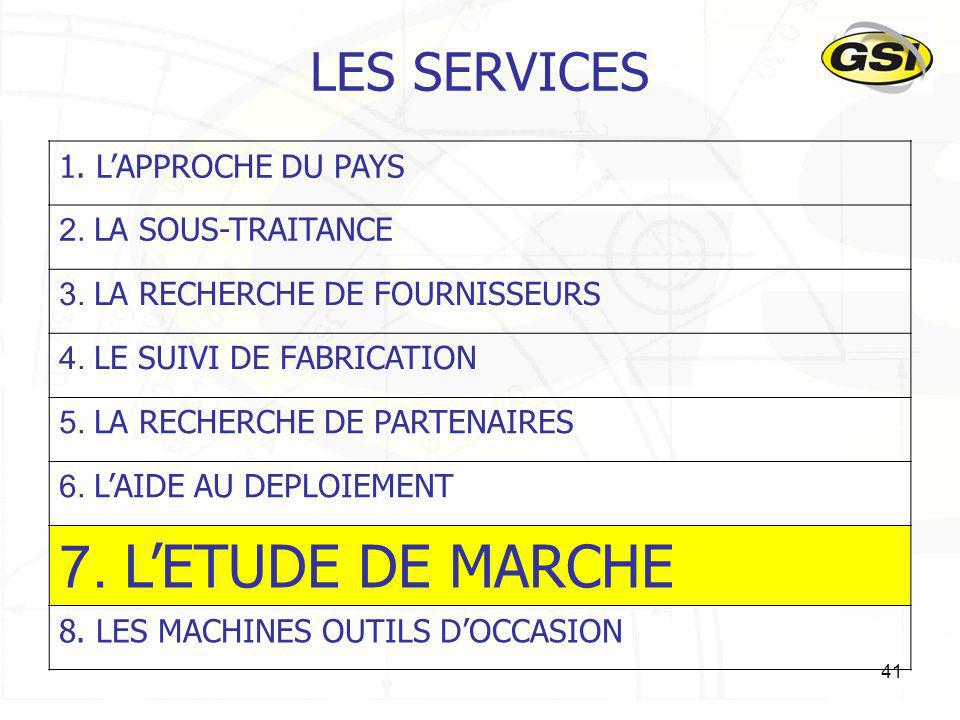 7. L'ETUDE DE MARCHE LES SERVICES 1. L'APPROCHE DU PAYS