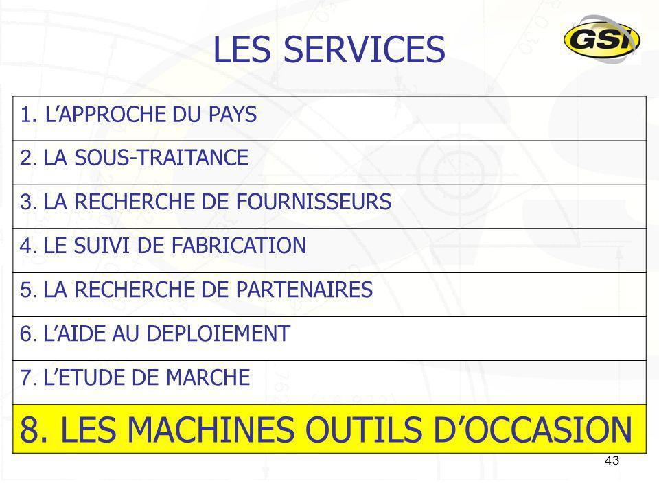 LES SERVICES 8. LES MACHINES OUTILS D'OCCASION 1. L'APPROCHE DU PAYS