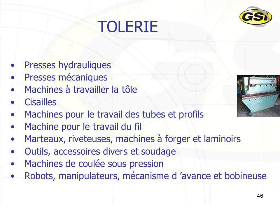 TOLERIE Presses hydrauliques Presses mécaniques
