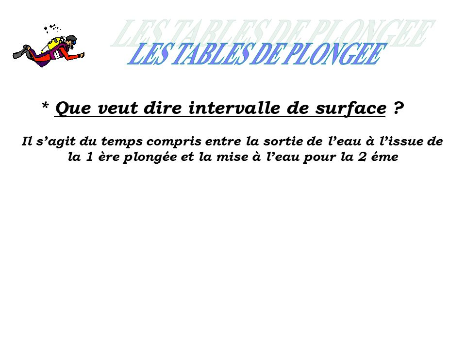 LES TABLES DE PLONGEE * Que veut dire intervalle de surface