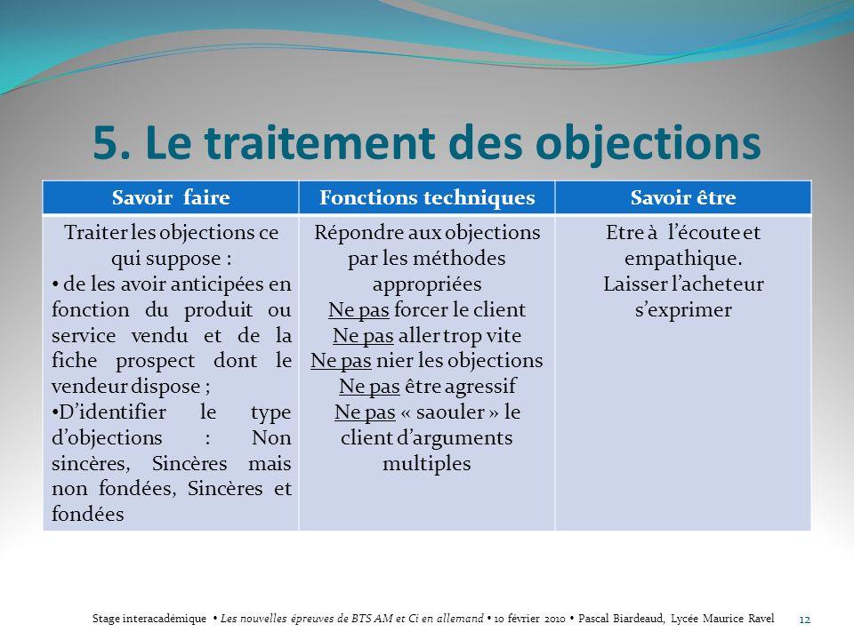 5. Le traitement des objections