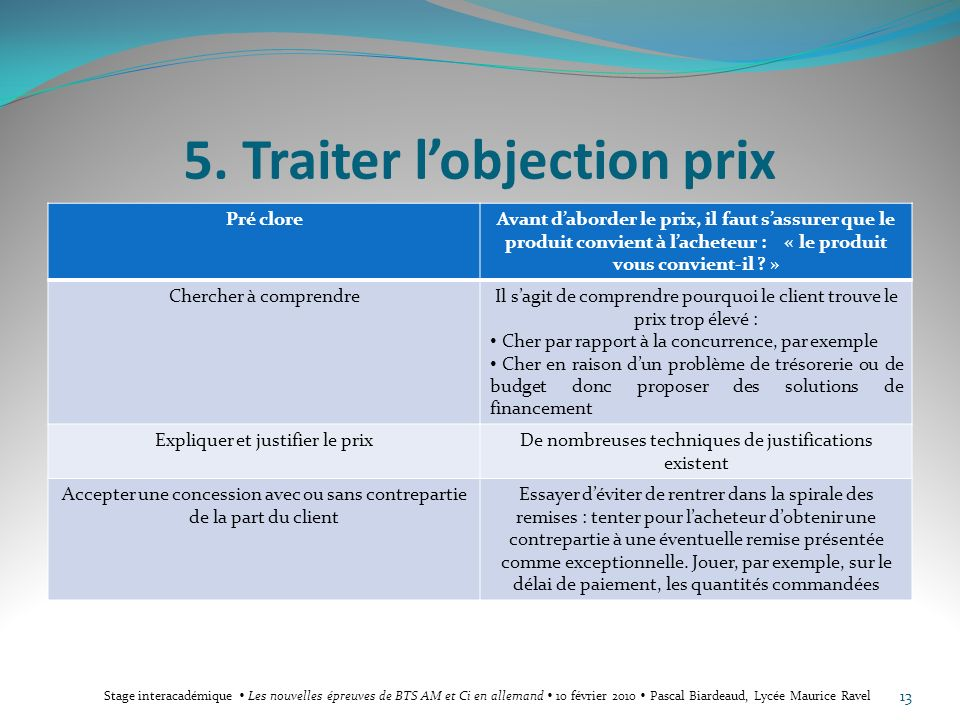 5. Traiter l'objection prix