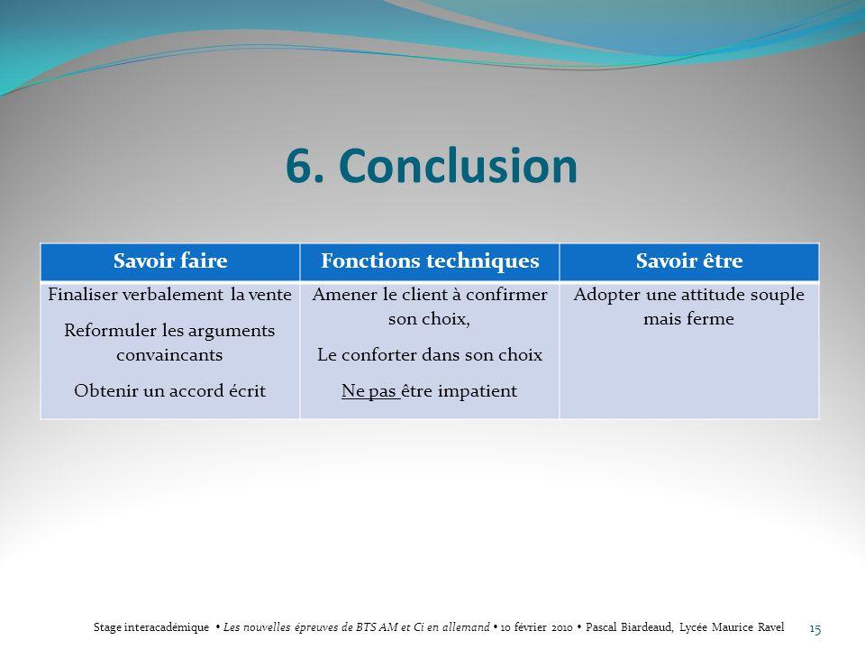 6. Conclusion Savoir faire Fonctions techniques Savoir être