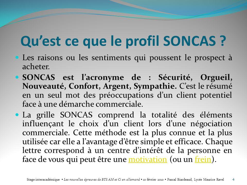 Qu'est ce que le profil SONCAS