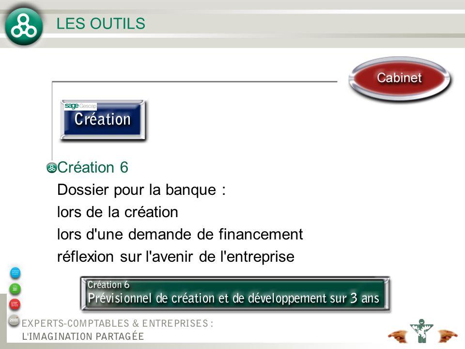 LES OUTILS Création 6. Dossier pour la banque : lors de la création. lors d une demande de financement.