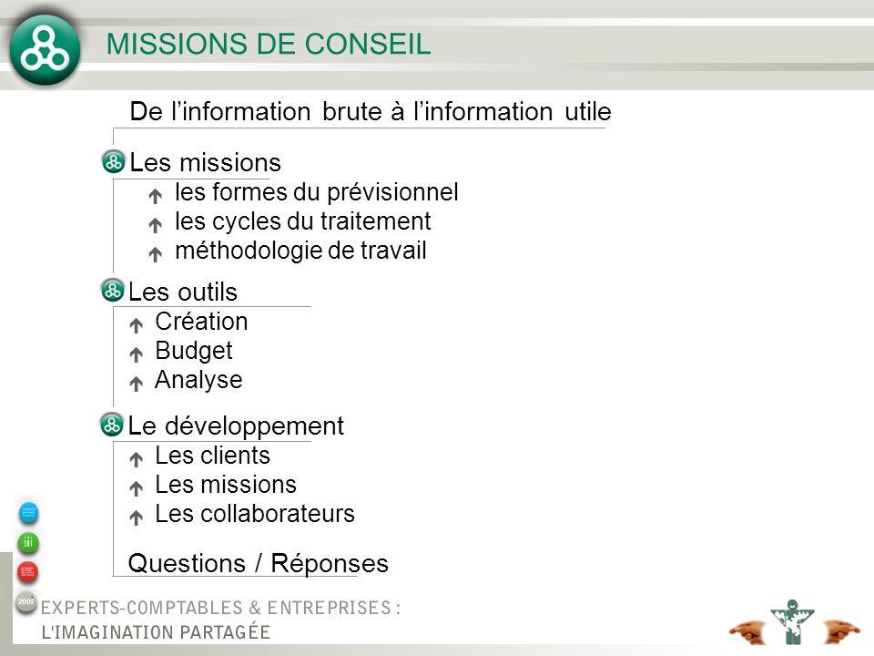 MISSIONS DE CONSEIL De l'information brute à l'information utile