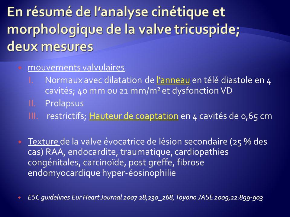 En résumé de l'analyse cinétique et morphologique de la valve tricuspide; deux mesures