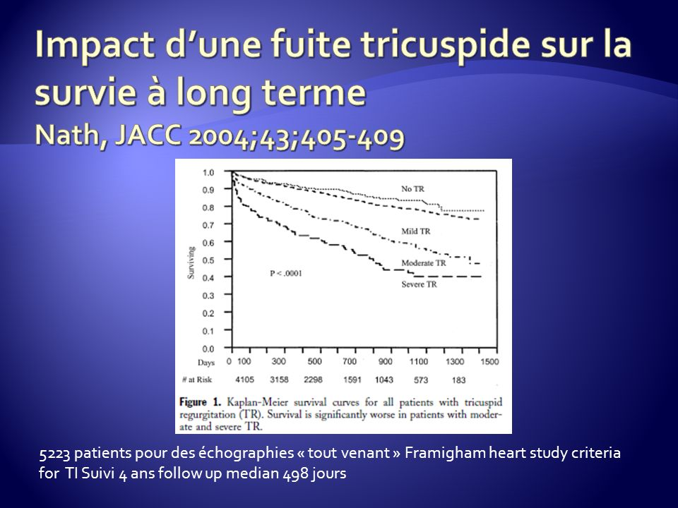 Impact d'une fuite tricuspide sur la survie à long terme Nath, JACC 2004;43;405-409