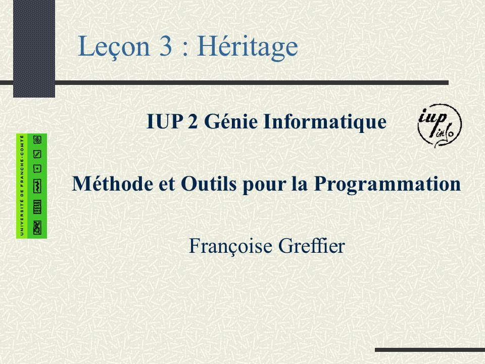 Leçon 3 : Héritage IUP 2 Génie Informatique