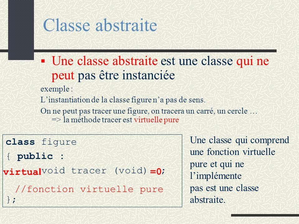Classe abstraite Une classe abstraite est une classe qui ne peut pas être instanciée. exemple :