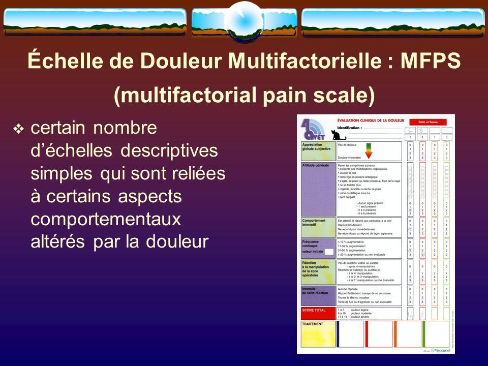 Échelle de Douleur Multifactorielle : MFPS (multifactorial pain scale)