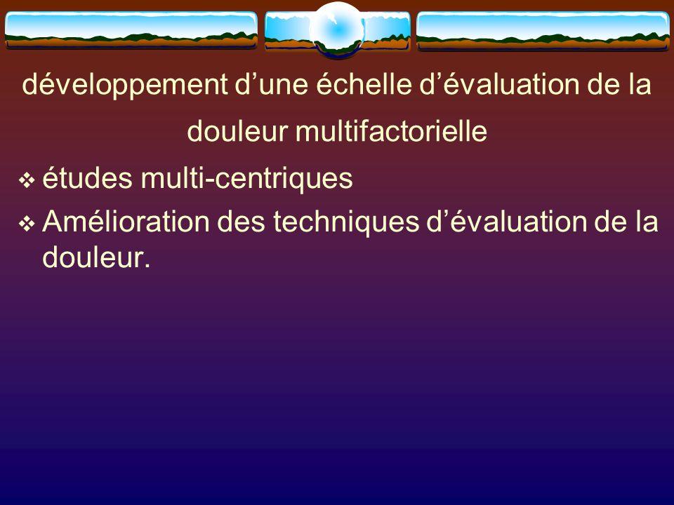 développement d'une échelle d'évaluation de la douleur multifactorielle