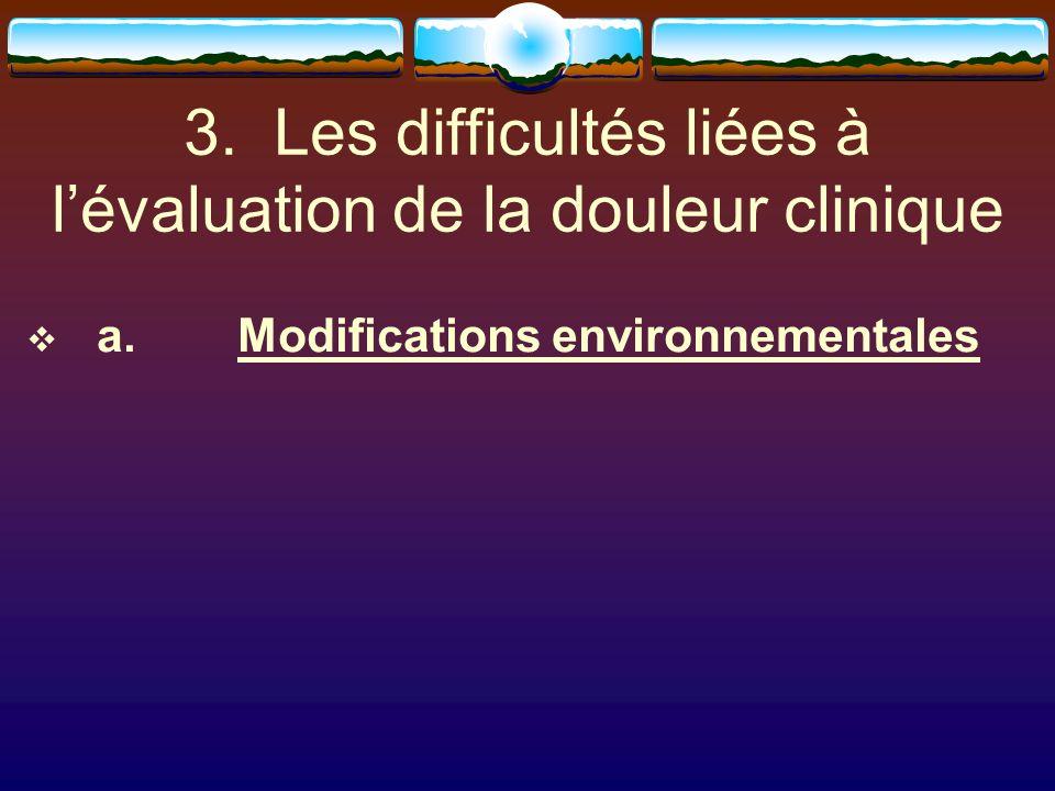 3. Les difficultés liées à l'évaluation de la douleur clinique