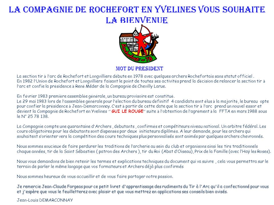 La Compagnie de Rochefort en Yvelines vous souhaite la bienvenue