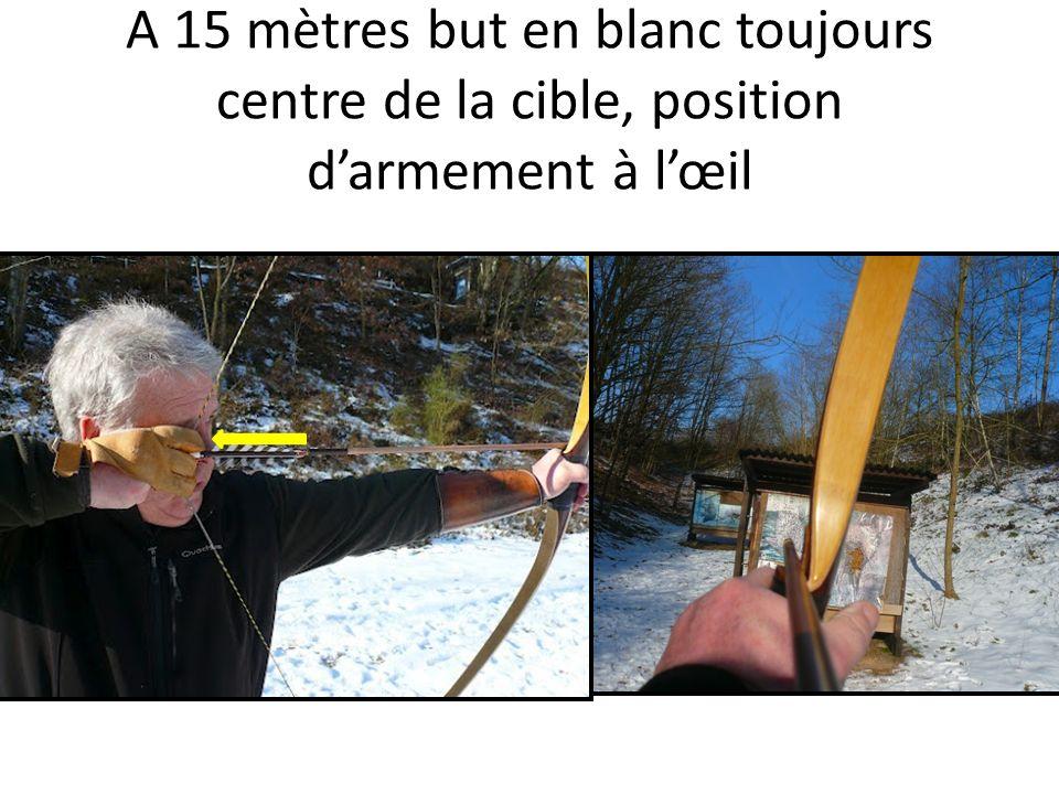 A 15 mètres but en blanc toujours centre de la cible, position d'armement à l'œil