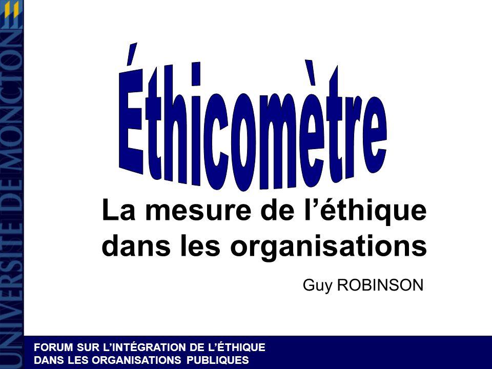 La mesure de l'éthique dans les organisations