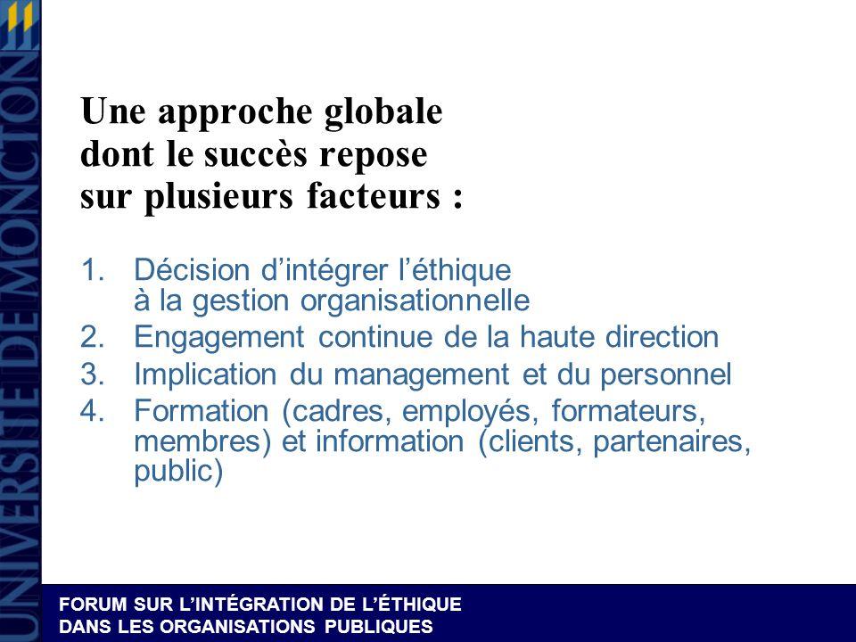 Une approche globale dont le succès repose sur plusieurs facteurs :