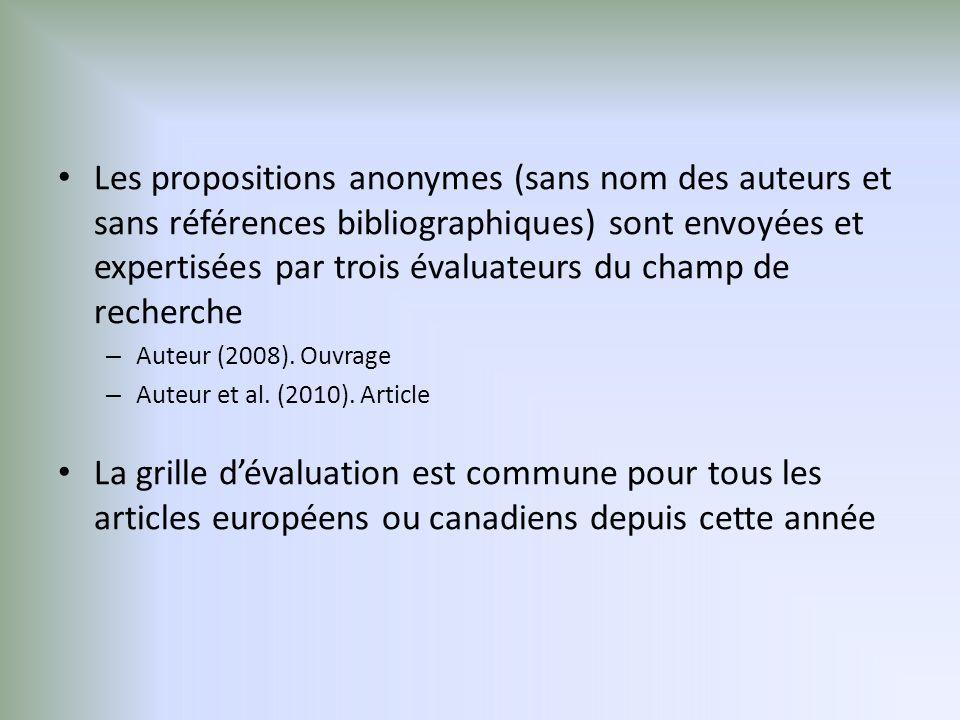Les propositions anonymes (sans nom des auteurs et sans références bibliographiques) sont envoyées et expertisées par trois évaluateurs du champ de recherche