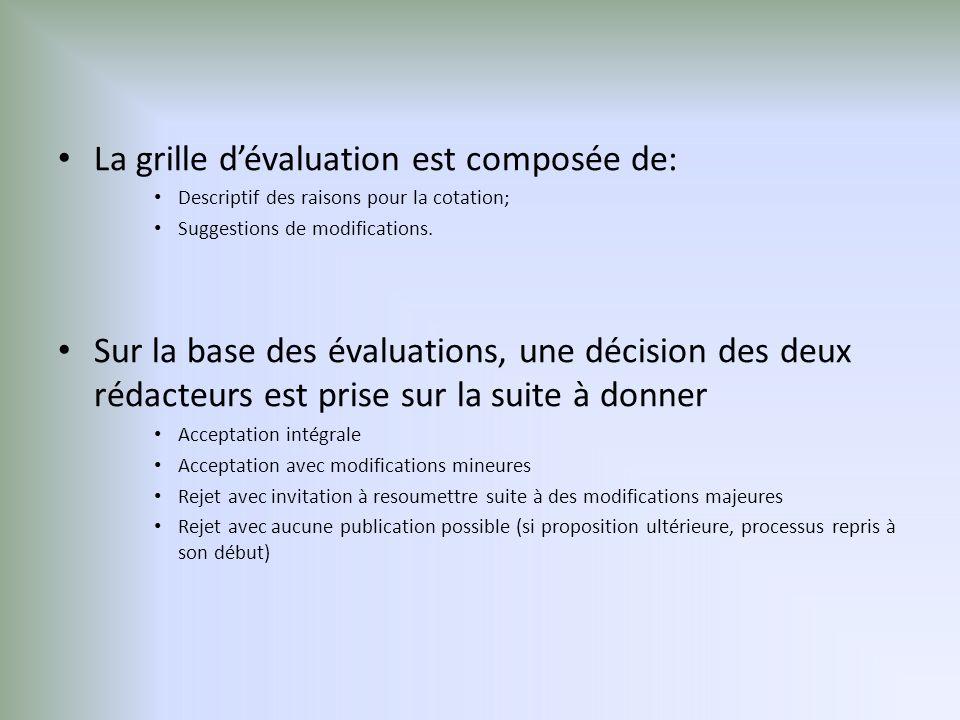La grille d'évaluation est composée de: