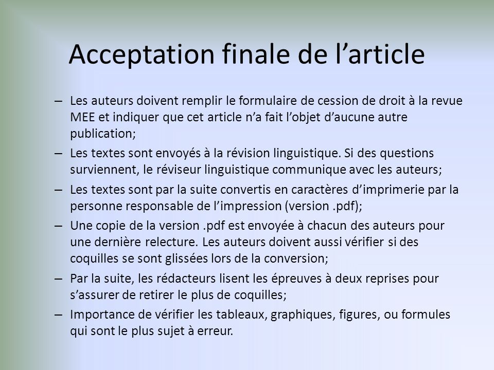 Acceptation finale de l'article
