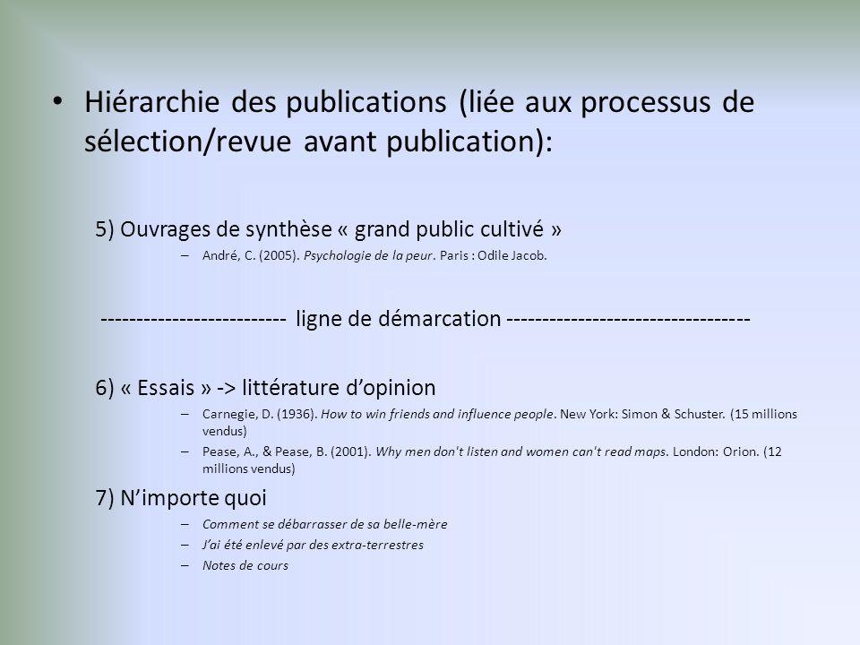 Hiérarchie des publications (liée aux processus de sélection/revue avant publication):